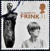 UNITED KINGDOM - CIRCA 1996: A stamp printed in Great Britain shows Dame Elisabeth Frink (sculptress), circa 1996 — 图库照片