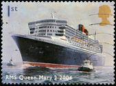 UNITED KINGDOM - CIRCA 2004: A stamp printed in Great Britain dedicated to Ocean Liners, shows RMS Queen Mary 2,2004, circa 2004 — Stock Photo