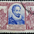 Royalty-Free Stock Photo: ECUADOR - CIRCA 1947: A stamp printed in Ecuador shows Miguel de Cervantes and Don Quixote, circa 1947