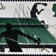 Stock Photo: UNITED KINGDOM - CIRCA 1977: A stamp printed in Great Britain dedicated to table tennis, circa 1977