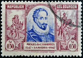 ECUADOR - CIRCA 1947: A stamp printed in Ecuador shows Miguel de Cervantes and Don Quixote, circa 1947 — Stock Photo