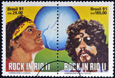 BRAZIL - CIRCA 1991: Stamps printed in Brazil dedicated to Rock in Rio, shows Cazuza and Raul Seixas, circa 1991 — 图库照片