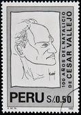 PERU - CIRCA 1992: A stamp printed in Peru shows Cesar Vallejo, circa 1992 — Stock Photo