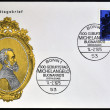 Stock Photo: GERMANY - CIRC1975: stamp printed in Germany shows womHead, by Michelangelo Buonarroti, Italisculptor, painter and architect, circ1975