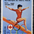 BURKINFASO - CIRC1976: stamp printed in BurkinFaso, shows Olympic emblem and vault, circ1976 — Stockfoto #19887269