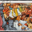 NIGER - CIRCA 1976: stamp printed in Niger shows Statue of Liberty and Joseph Warren, martyr of Bunker Hill, circa 1976 — Stock Photo