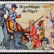 NIGER - CIRCA 1976: stamp printed in Niger shows Statue of Liberty and the first fighters of the Revolution, circa 1976 — Stock Photo #19887447