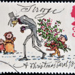 UNITED KINGDOM - CIRCA 1993: A stamp printed in Great Britain shows Scrooge from Christmas, circa 1993 — Stok fotoğraf