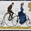 UNITED KINGDOM - CIRCA 1978 : A stamp printed in Great Britain celebrating cycling, showing a Penny Farthing and 1884 Safety Bicycle, circa 1978 — Stock Photo