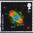 UNITED KINGDOM - CIRCA 2007: A stamp printed in Great Britain dedicated to The Sky At Night, shows saturn nebula C55, circa 2007 — Stock Photo