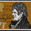 UNITED KINGDOM - CIRCA 1971: A stamp printed in Great Britain shows portrait of Sir Walter Scott (1771-1832), circa 1971 - Stock Photo