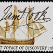 UNITED KINGDOM - CIRCA 1968: A stamp printed in Great Britain shows Captain Cook's Endeavour and Signature, circa 1968 — Stock Photo