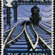 Stock Photo: UNITED KINGDOM - CIRC2003: stamp printed in Great Britain dedicated to British Pub Signs, shows station, circ2003