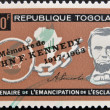 TOGO - CIRCA 1963: A stamp printed by Togo, shows Lincoln, Broken Fetters, Maps of Africa and US, emancipation from slavery, circa 1963 — Stock Photo
