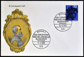 GERMANY - CIRCA 1975: a stamp printed in Germany shows woman Head, by Michelangelo Buonarroti, Italian sculptor, painter and architect, circa 1975 — ストック写真