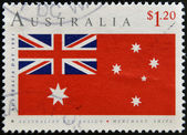 AUSTRALIA - CIRCA 1991: A stamp printed in Australia shows australian red ensign, merchant ships, circa 1991 — Stock Photo