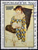 "MALI - CIRCA 1967: A stamp printed in Mali shows the work ""Paul the harlequin"" by Pablo Picasso, circa 1967 — 图库照片"