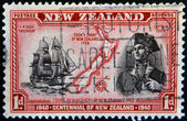 NEW ZEALAND - CIRCA 1940: stamp printed in New Zealand shows a portrait of Captain Cook, the H.M Bark Endeavour and maritime chart of the islands, circa 1940 — Stock Photo