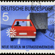 EAST GERMANY - CIRCA 1971: a stamp printed in Germany shows car, truck and light signal, devoted to the explaining rules of the road, Road safety, circa 1971 - Foto de Stock  