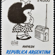 ARGENTINA - CIRCA 1991: A stamp printed in Argentina shows Mafalda, a comic strip written and drawn by Argentine cartoonist Quino, circa 1991 — 图库照片