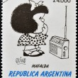 ARGENTINA - CIRCA 1991: A stamp printed in Argentina shows Mafalda, a comic strip written and drawn by Argentine cartoonist Quino, circa 1991 — Foto de Stock
