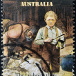 AUSTRALIA - CIRCA 1986: A stamp printed in Australia shows sheepshearing, Tar-boy is there, circa 1986 - Stockfoto