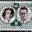 BELGIUM - CIRCA 1960: A stamp printed in Belgium shows Royal wedding between Baudouin and Fabiola, circa 1960 - Stock Photo