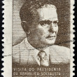 BRAZIL - CIRCA 1963: A stamp printed in Brazil shows the portrait of a Josip Brozl Tito, circa 1963 - Stock Photo