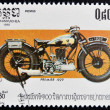 Stock Photo: CAMBODI- CIRC1985: stamp printed in Kampucheshows vintage Premier motorcycle, circ1985
