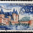 FRANCE - CIRC1961: stamp printed in France shows image of Sully-sur-Loire castle, historic seat of ducs de Sully, circ1961 — Stok Fotoğraf #21237509