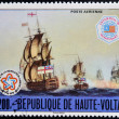 UPPER VOLTA - CIRCA 1976: a stamp from Upper Volta (Burkina Faso) shows image of the Battle of Cape St. Vincent, circa 1976  — Stock Photo