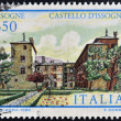 ITALY - CIRCA 1986: A stamp printed in Italy shows Issogne Castle, circa 1986 - Stock Photo