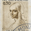MONACO - CIRCA 1969: A stamp printed in Monaco shows Study for Woman's Head by Leonardo da Vinci, circa 1969 - Zdjęcie stockowe