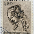 MONACO - CIRC1969: stamp printed in Monaco shows Study for Sainte Madeleine by Leonardo dVinci, circ1969 — Stock fotografie #21237937