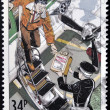 Stock Photo: UNITED KINGDOM - CIRC1987: stamp printed in Great Britain shows St. John Ambulance,transplant orgflights, circ1987