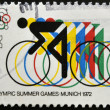 Stock Photo: UNITED STATES OF AMERIC- CIRC1972: stamp printed in USshows Bicycling and Olympic Rings, 20th Summer Olympic Games, Munich, circ1972