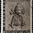 Постер, плакат: VATICAN CIRCA 1966: A stamp printed in Vatican shows Vatican Papal Coat of Arms Paul VI circa 1966