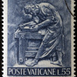 VATICAN - CIRC1966: stamp printed in Vaticshows Bas reliefs of arts and crafts, carpenter, circ1966 — Foto de stock #21238289