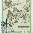Постер, плакат: VATICAN CIRCA 1965: A stamp printed in Vatican dedicated to Anniversary of Birth of Dante shows Dante and Virgil at entrance to Purgatory circa 1965