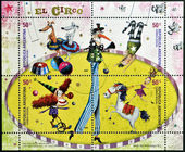 ARGENTINA - CIRCA 2004: stamps printed in Argentina dedicated to circus, circa 2004 — Stockfoto