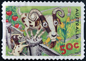 AUSTRALIA - CIRCA 2005: stamp printed in Australia shows Goats and rabbit, circa 2005 — Stock Photo