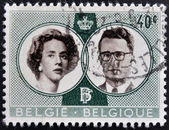 BELGIUM - CIRCA 1960: A stamp printed in Belgium shows Royal wedding between Baudouin and Fabiola, circa 1960 — 图库照片