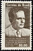 Brasil - cerca de 1963: um selo impresso em shows do brasil, o retrato de uma brozl de josip tito, cerca de 1963 — Fotografia Stock