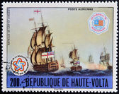 UPPER VOLTA - CIRCA 1976: a stamp from Upper Volta (Burkina Faso) shows image of the Battle of Cape St. Vincent, circa 1976 — Stock fotografie
