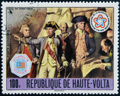 UPPER VOLTA - CIRCA 1976: a stamp from Upper Volta (Burkina Faso) commemorates the US bicentennial and shows the Siege of Yorktown, circa 1976 — Stock Photo