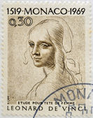 MONACO - CIRCA 1969: A stamp printed in Monaco shows Study for Woman's Head by Leonardo da Vinci, circa 1969 — 图库照片