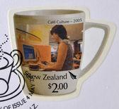 2005 年頃 - ニュージーランド: ニュージーランドの 2005 年頃のカフェ文化に専用の印刷スタンプ — ストック写真