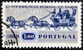 PORTUGAL - CIRCA 1963: A stamp printed in Portugal shows Postal chariot, circa 1963 — Zdjęcie stockowe