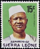 SIERRA LEONE - CIRCA 1971: stamp printed in Sierra Leone shows Siaka Stevens, circa 1971. — Zdjęcie stockowe
