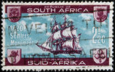 SOUTH AFRICA - CIRCA 1962: A stamp printed in South Africa dedicated to British Settlers Monument Grahamstown, circa 1962 — Stock Photo